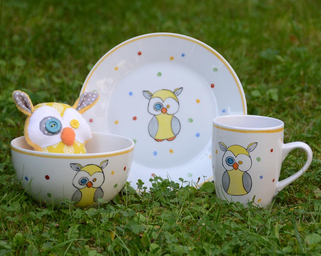 Baglyos porcelán gyerek étkészlet