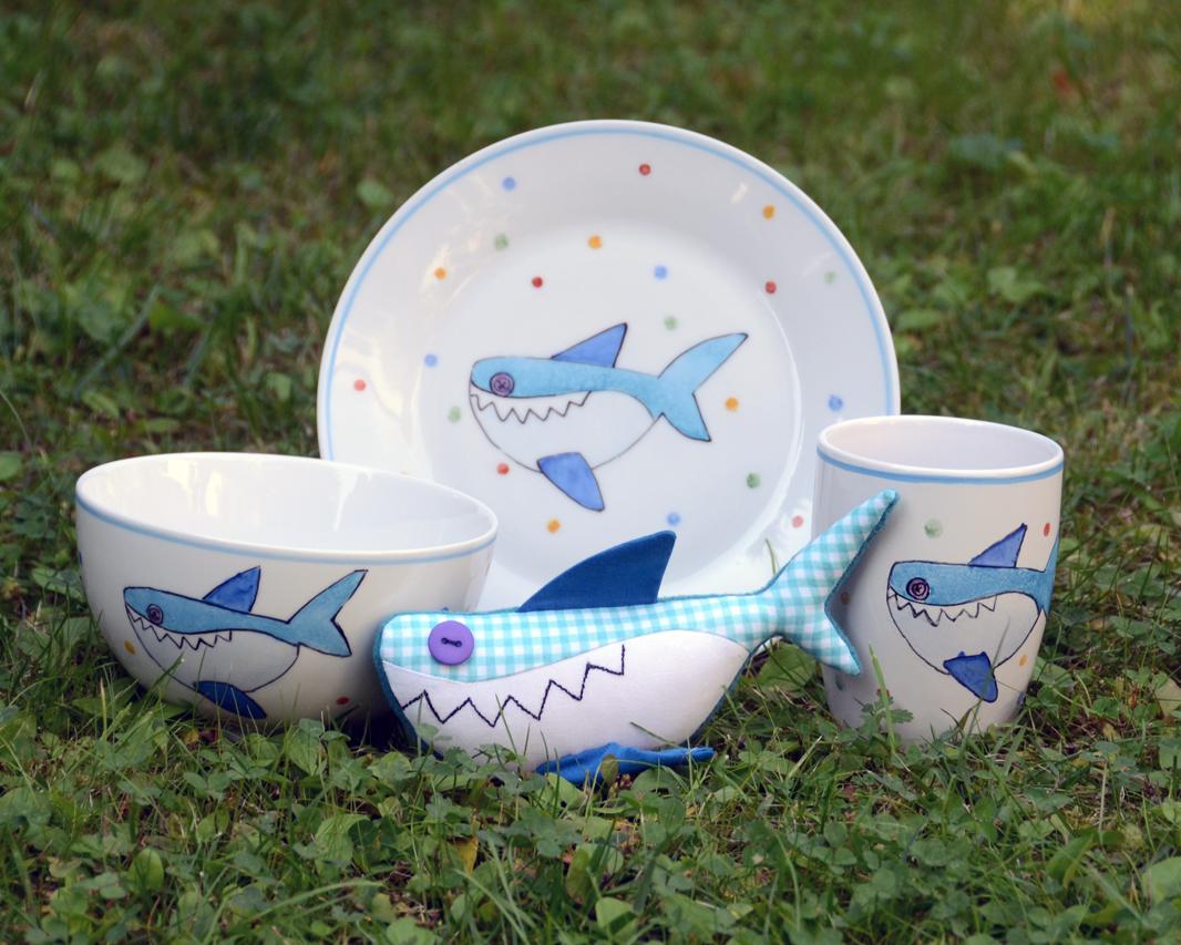Porcelán cápás gyerek étkészlet