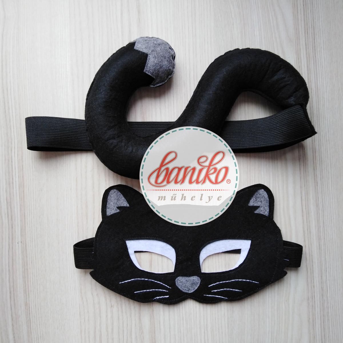Fekete fiú macska, kandúr álarc farsangra halloweenre fiúknak