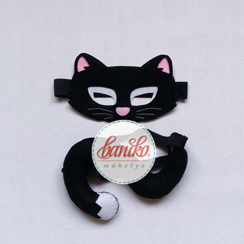 Fekete macska álarc farsangra halloweenre lányoknak