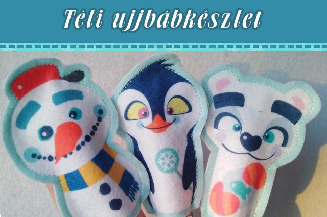 Téli figurás ujjbábkészlet (hóember, pingvin, jegesmaci)
