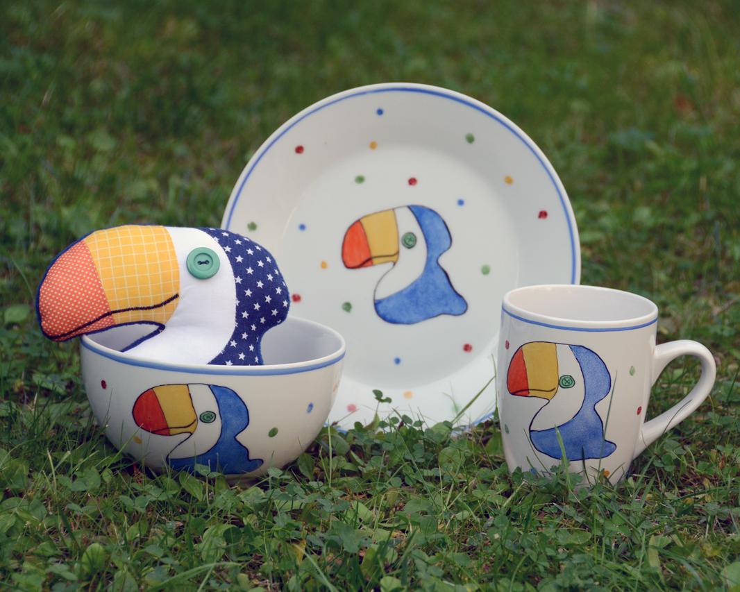 tukános porcelán gyerek étkészlet