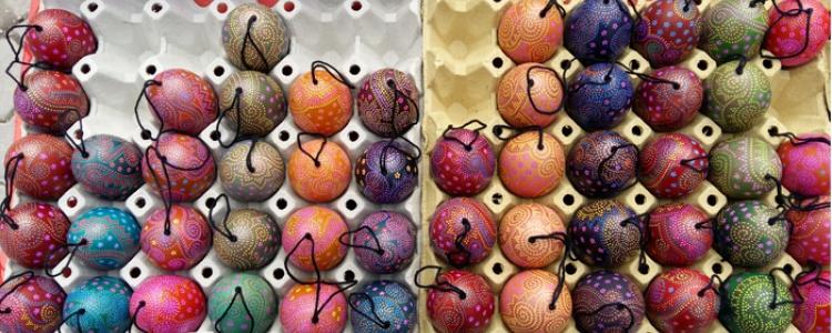 Textilfestékkel festett tojások
